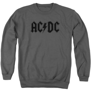 AC/DC Worn Logo Mens Crewneck Sweatshirt Charcoal