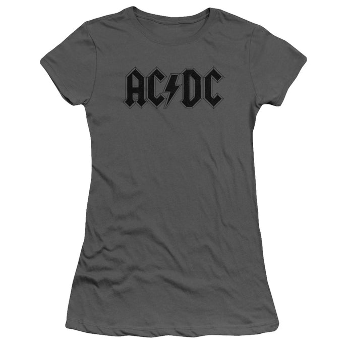 AC/DC Worn Logo Junior Sheer Cap Sleeve Womens T Shirt Charcoal