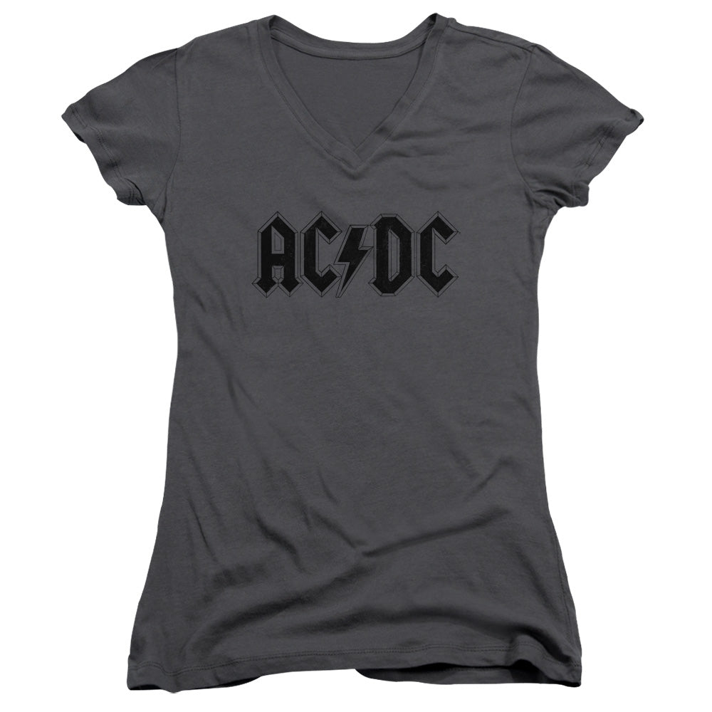AC/DC Worn Logo Junior Sheer Cap Sleeve V-Neck Womens T Shirt Charcoal