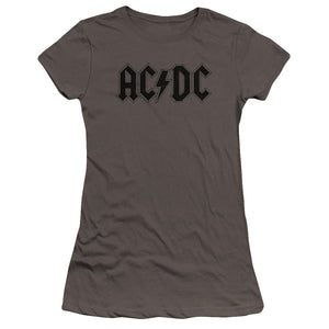 AC/DC Worn Logo Junior Sheer Cap Sleeve Premium Bella Canvas Womens T Shirt Charcoal