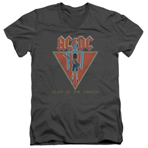 AC/DC Flick Of The Switch Mens Slim Fit V-Neck T Shirt Charcoal