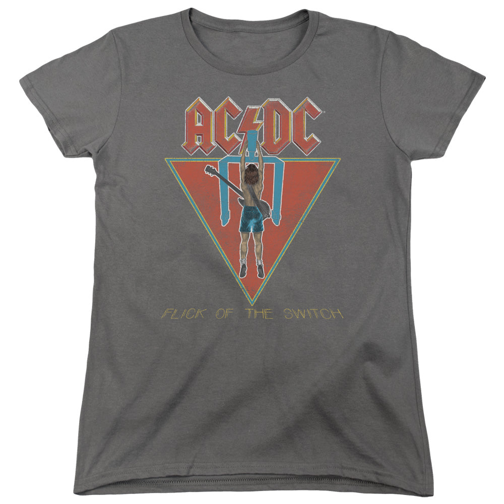 AC/DC Flick Of The Switch Womens T Shirt Charcoal
