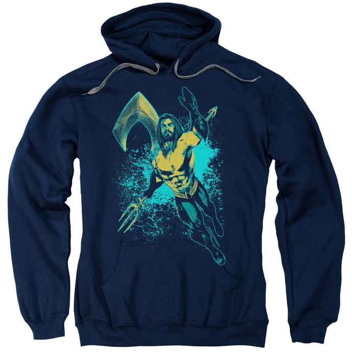 Aquaman Movie Make A Splash Mens Hoodie Navy Blue