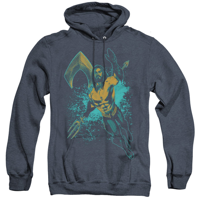 Aquaman Movie Make A Splash Heather Mens Hoodie Navy Blue