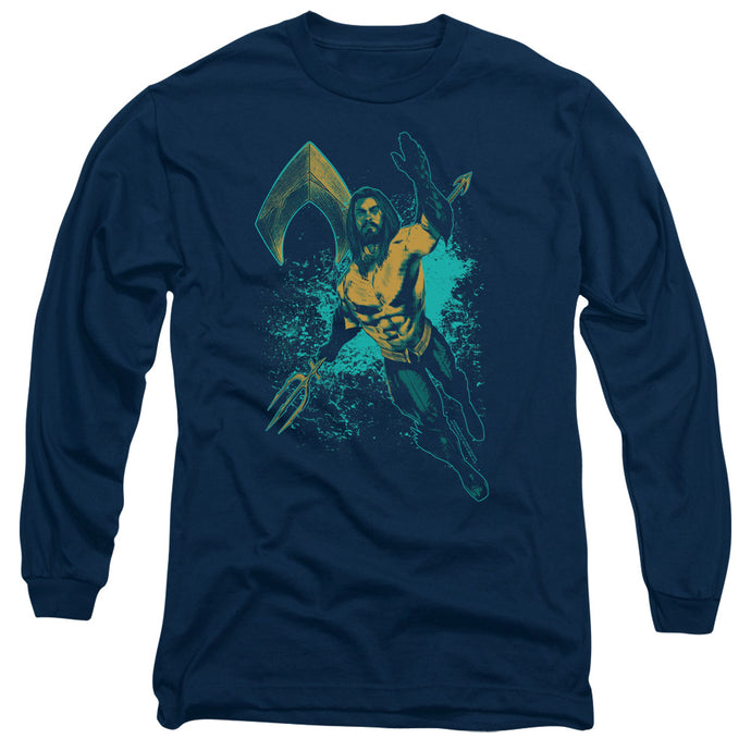 Aquaman Movie Make A Splash Mens Long Sleeve Shirt Navy Blue