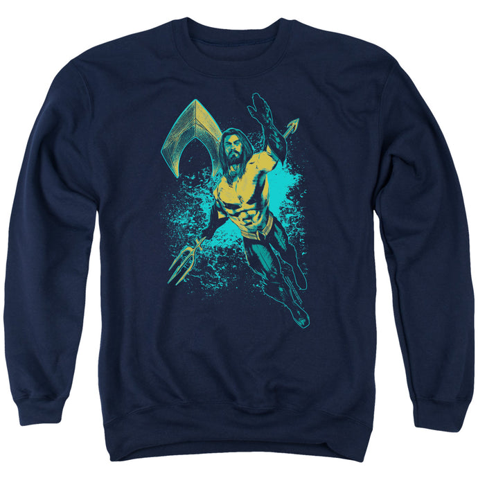 Aquaman Movie Make A Splash Mens Crewneck Sweatshirt Navy Blue