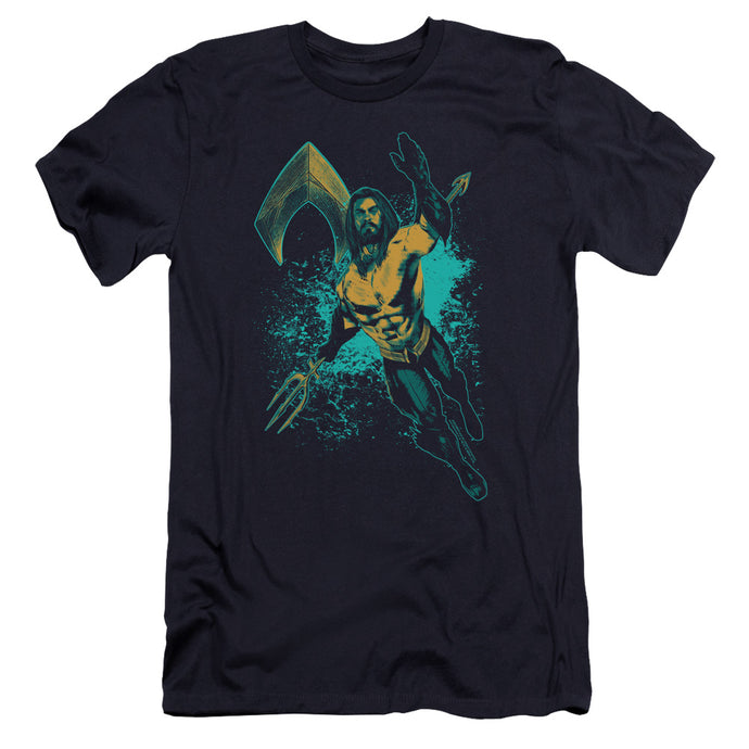 Aquaman Movie Make A Splash Premium Bella Canvas Slim Fit Mens T Shirt Navy Blue