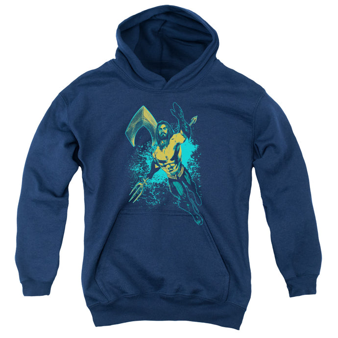Aquaman Movie Make A Splash Kids Youth Hoodie Navy Blue