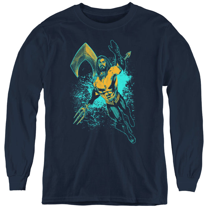 Aquaman Movie Make A Splash Long Sleeve Kids Youth T Shirt Navy Blue