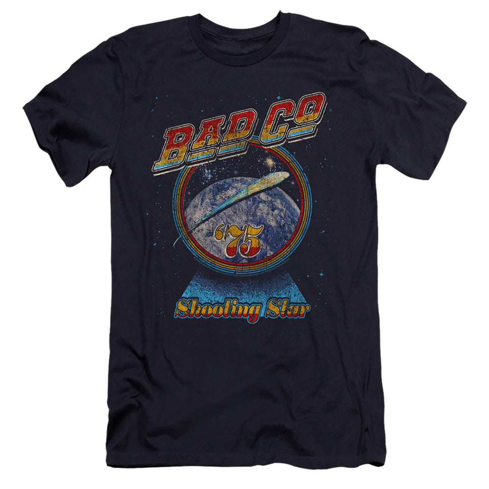 Bad Company Shooting Star Premium Bella Canvas Slim Fit Mens T Shirt Navy Blue