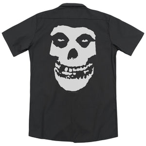 Misfits Fiend Skull Back Print Mens Work Shirt Black