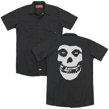 Load image into Gallery viewer, Misfits Fiend Skull Back Print Mens Work Shirt Black