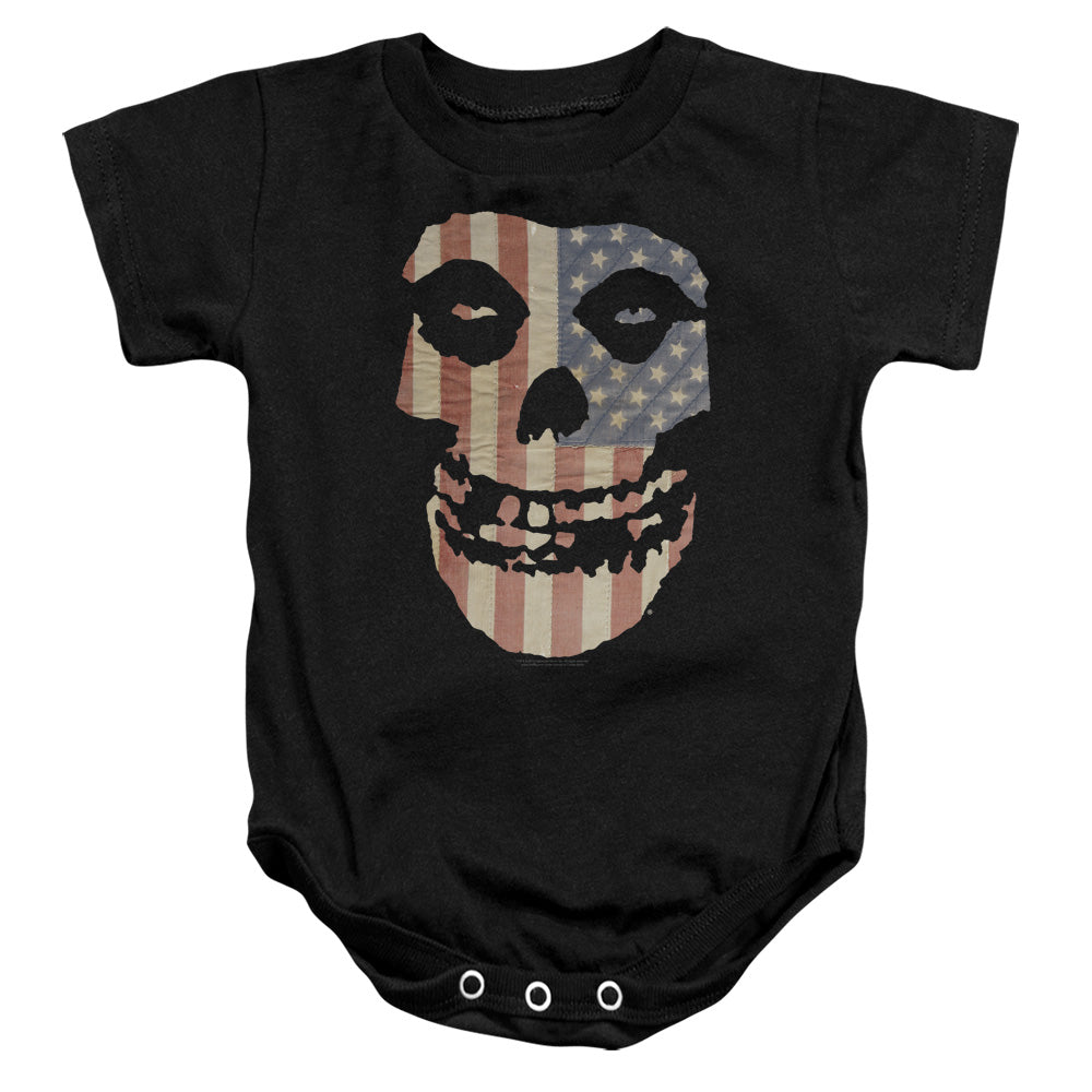 Misfits Fiend Flag Colored Infant Baby Snapsuit Black