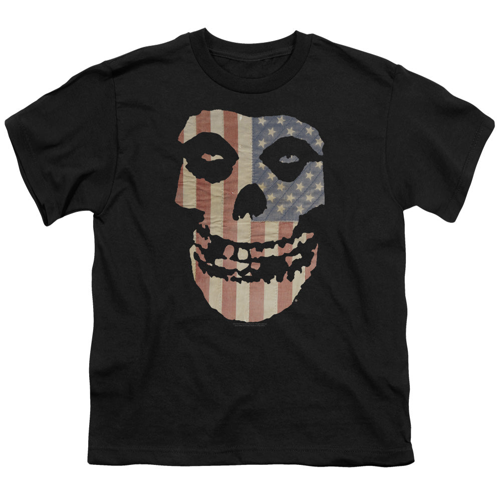 Misfits Fiend Flag Colored Kids Youth T Shirt Black