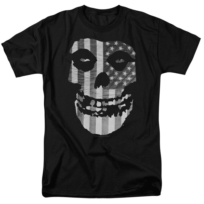 Misfits Fiend Flag Black & White Mens T Shirt Black