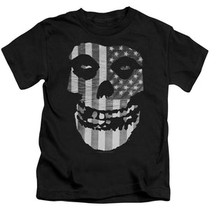 Misfits Fiend Flag Black & White Juvenile Kids Youth T Shirt Black