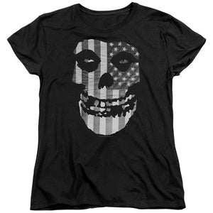 Misfits Fiend Flag Black & White Womens T Shirt Black