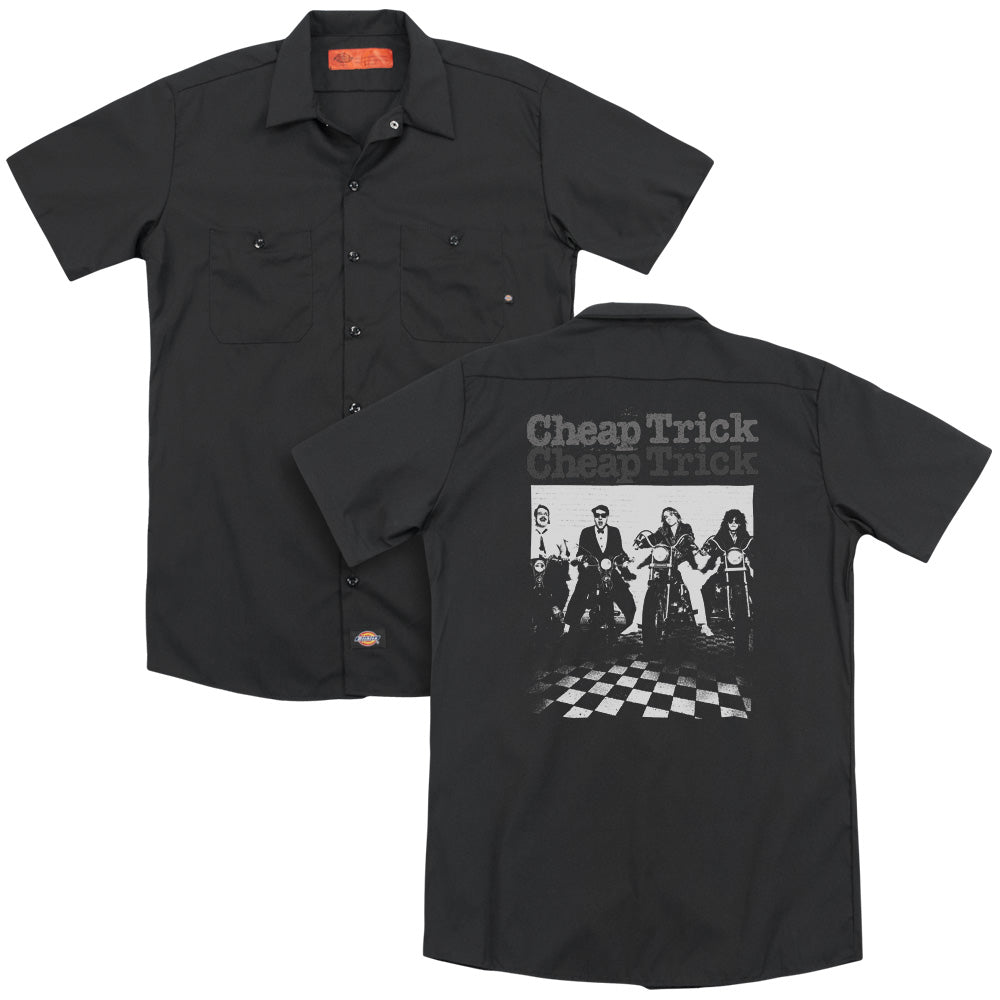 Cheap Trick Cheap Trick Bikes Back Print Mens Work Shirt Black