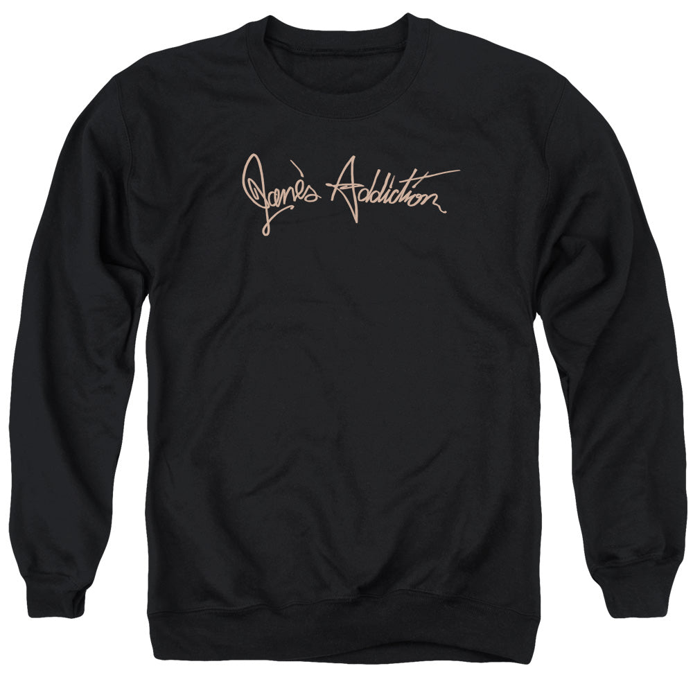 Janes Addiction Script Logo Mens Crewneck Sweatshirt Black
