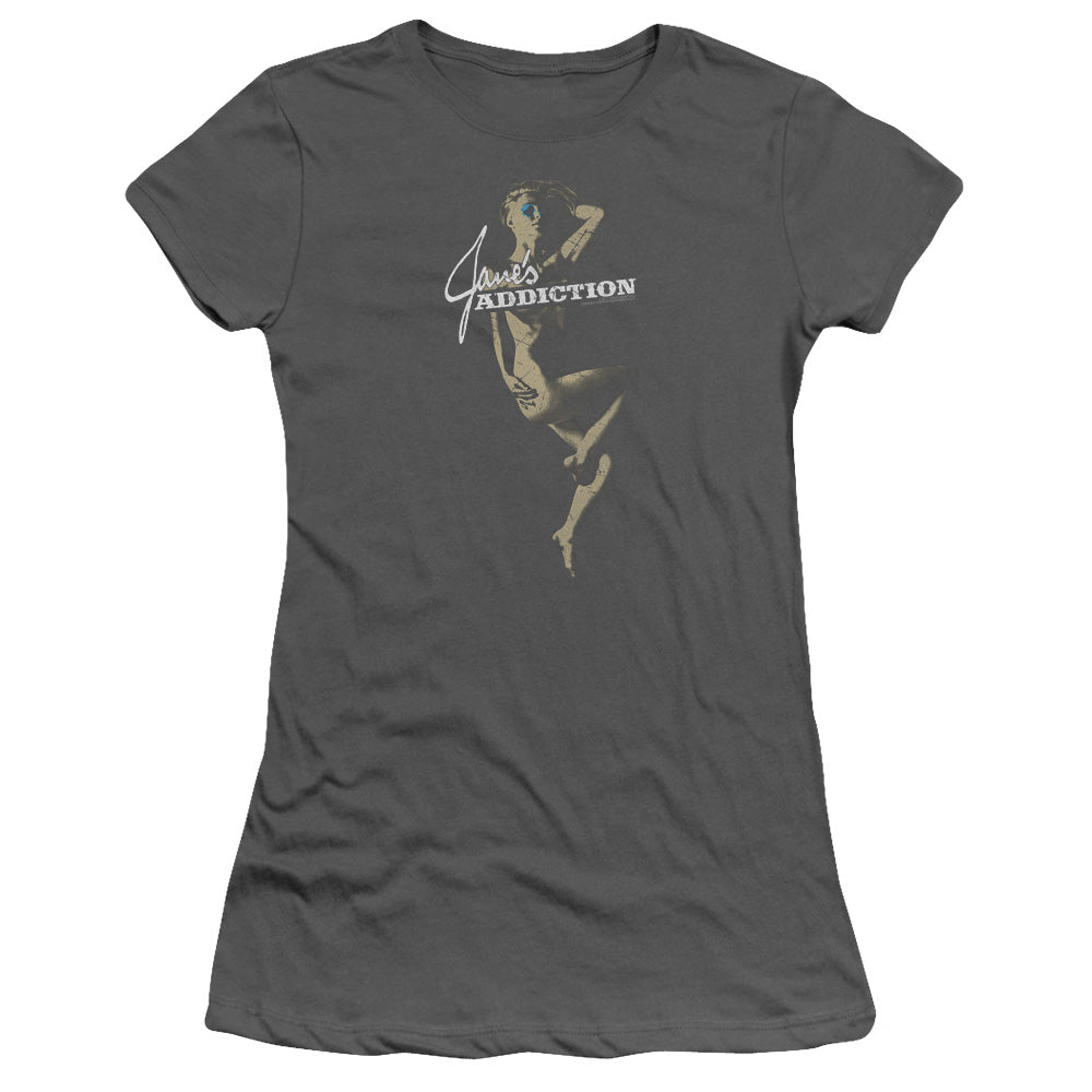 Janes Addiction Inside Escape Junior Sheer Cap Sleeve Womens T Shirt Charcoal