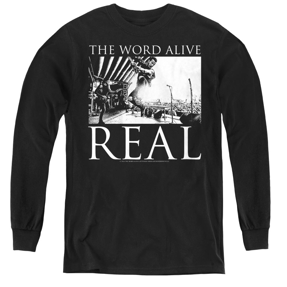 The Word Alive Live Shot Long Sleeve Kids Youth T Shirt Black
