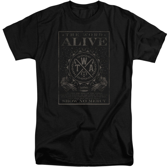 The Word Alive Show No Mercy Mens Tall T Shirt Black