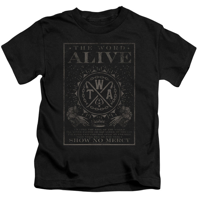 The Word Alive Show No Mercy Juvenile Kids Youth T Shirt Black