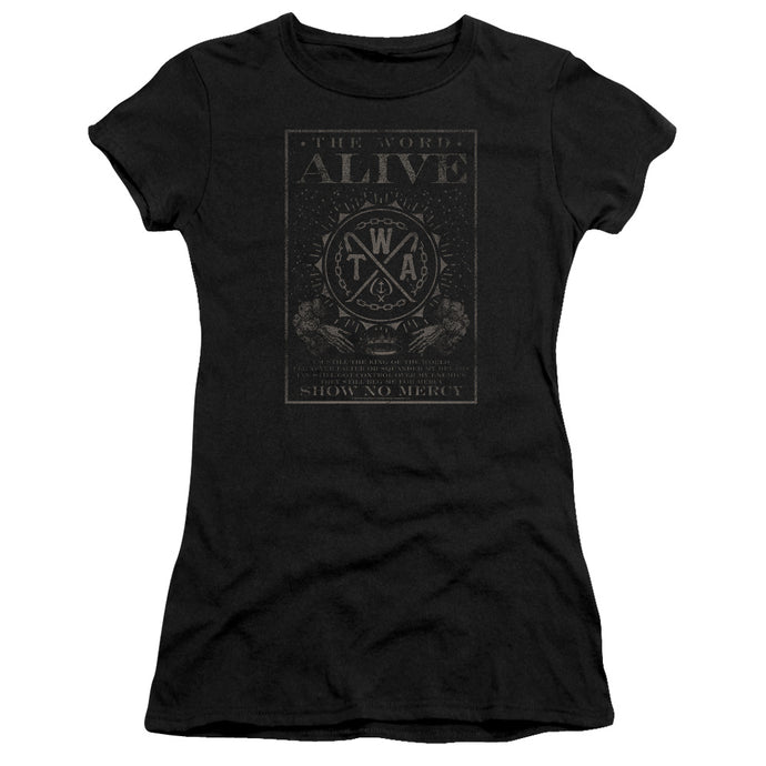 The Word Alive Show No Mercy Junior Sheer Cap Sleeve Premium Bella Canvas Womens T Shirt Black