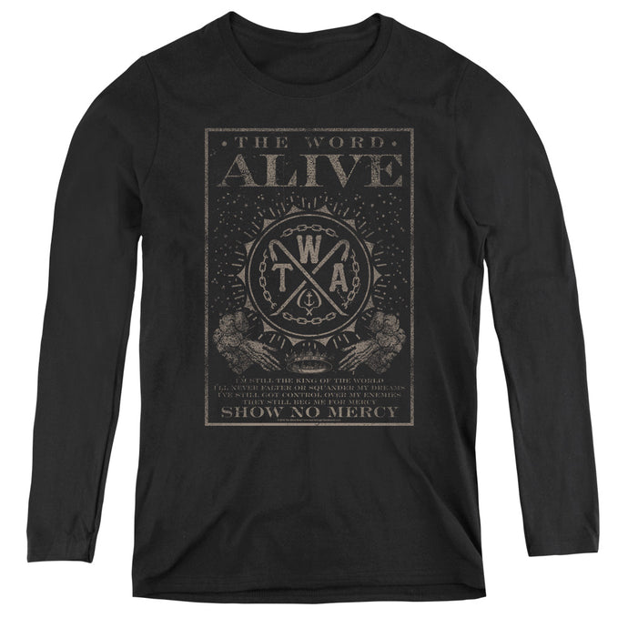 The Word Alive Show No Mercy Womens Long Sleeve Shirt Black