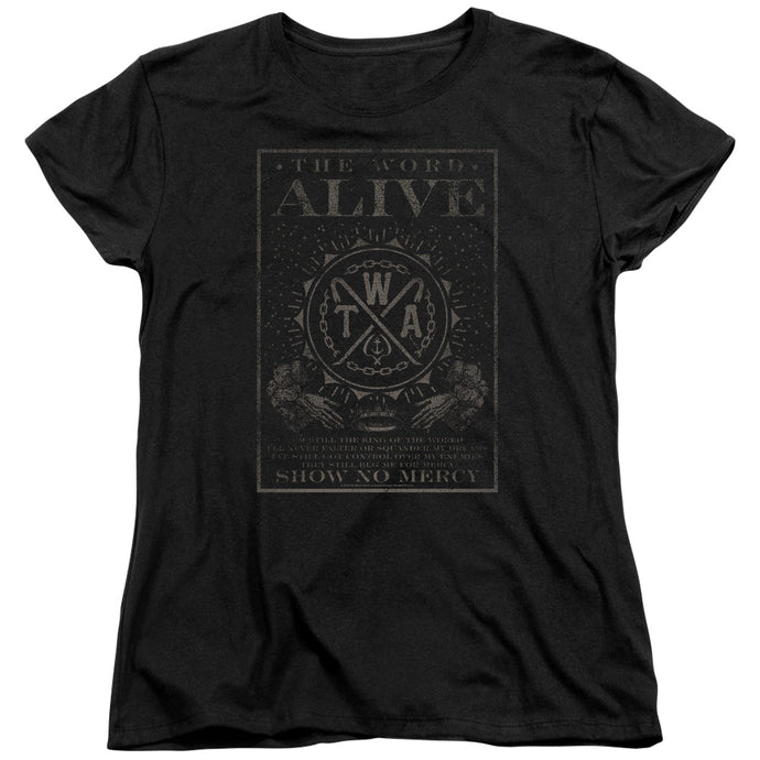 The Word Alive Show No Mercy Womens T Shirt Black
