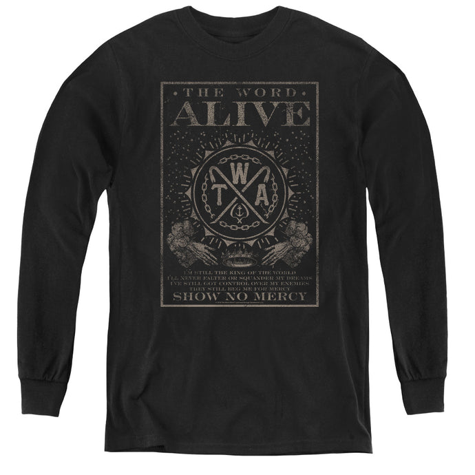 The Word Alive Show No Mercy Long Sleeve Kids Youth T Shirt Black