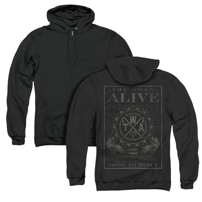 The Word Alive Show No Mercy Back Print Zipper Mens Hoodie Black