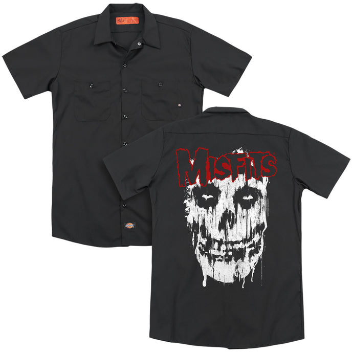 Misfits Splatter Back Print Mens Work Shirt Black