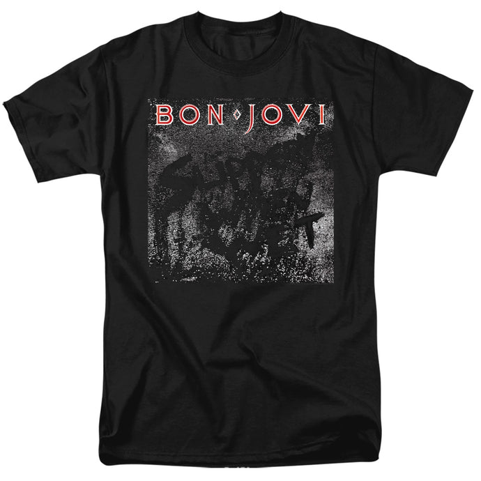 Bon Jovi Slippery Cover Mens T Shirt Black