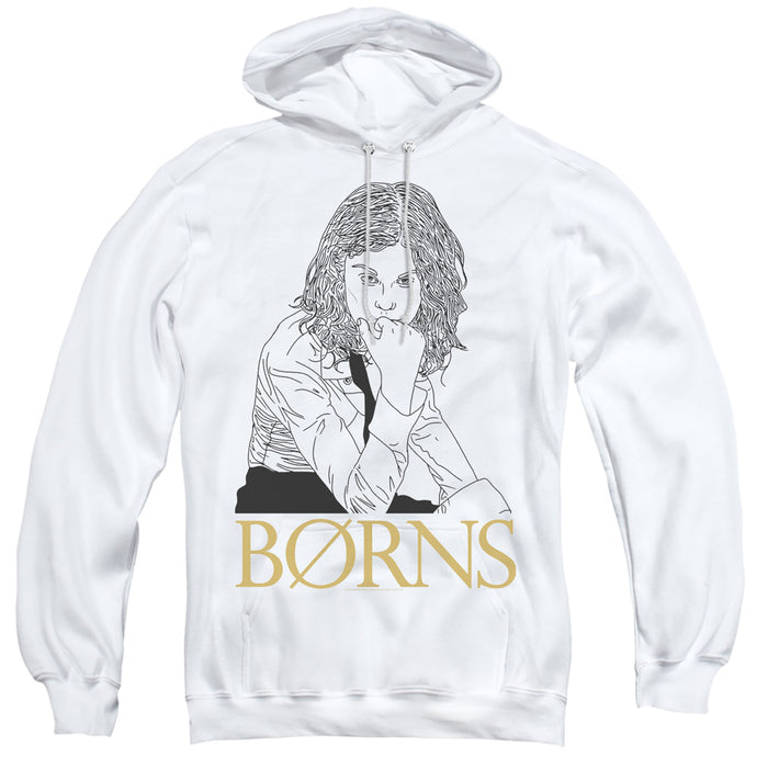 Borns Outline Mens Hoodie White