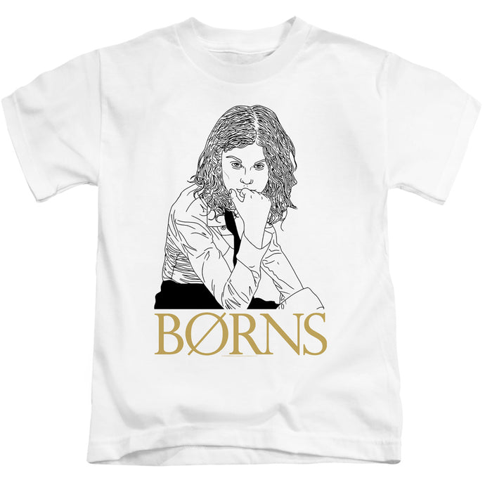 Borns Outline Juvenile Kids Youth T Shirt White