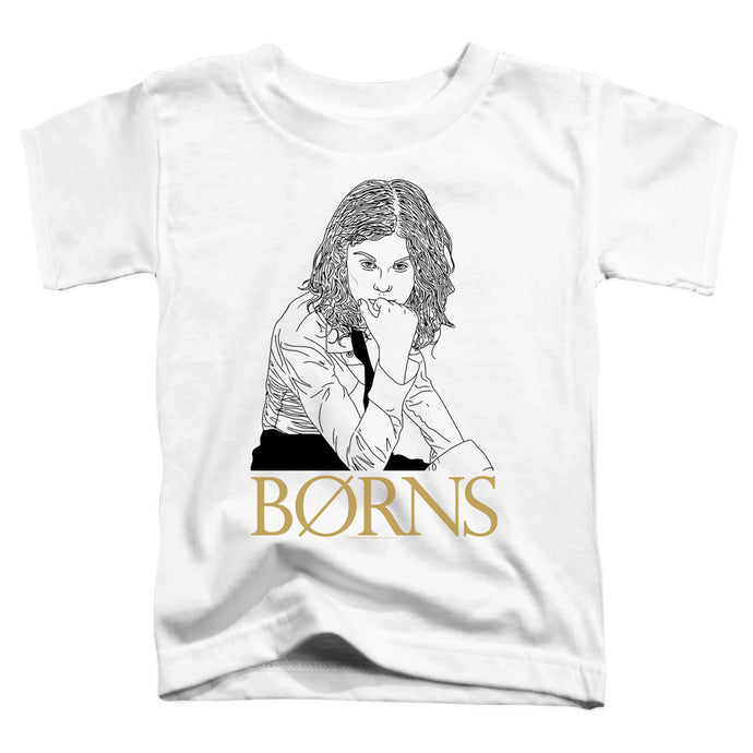 Borns Outline Toddler Kids Youth T Shirt White
