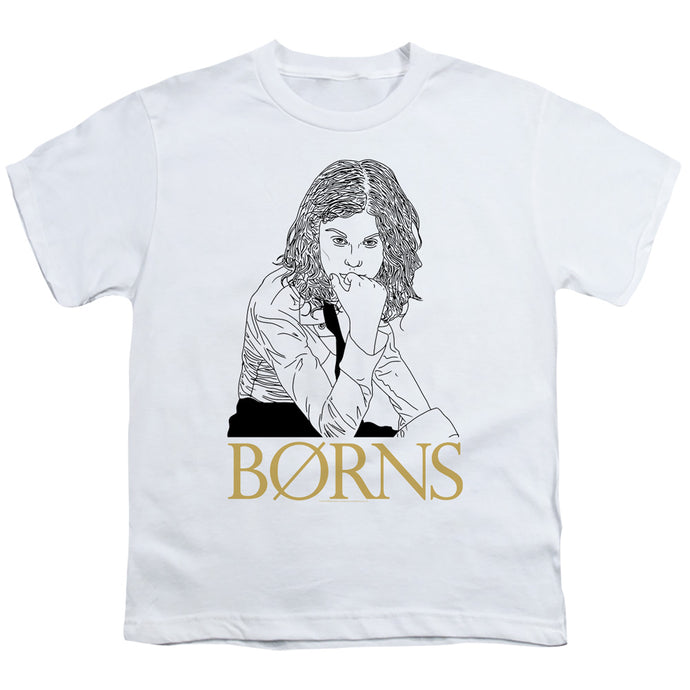 Borns Outline Kids Youth T Shirt White