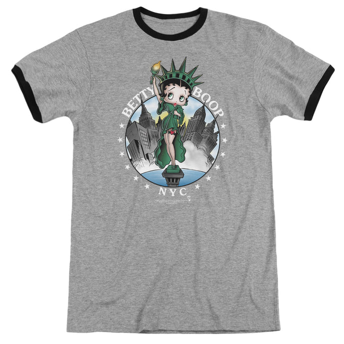 Betty Boop Nyc Heather Ringer Mens T Shirt Heather