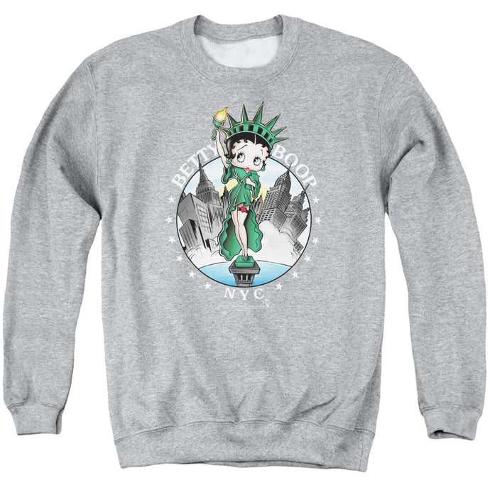 Betty Boop Nyc Mens Crewneck Sweatshirt Athletic Heather