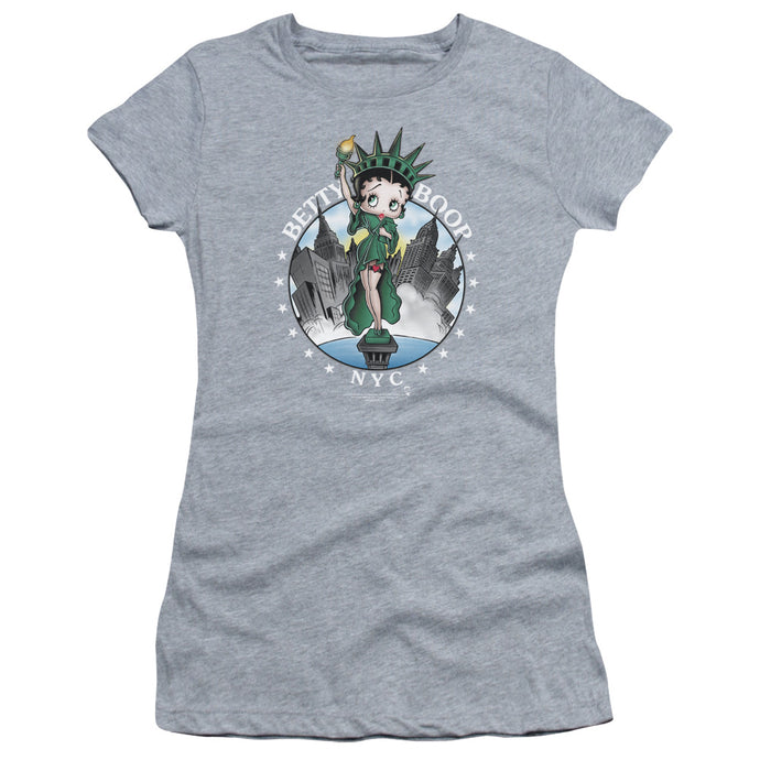 Betty Boop Nyc Junior Sheer Cap Sleeve Womens T Shirt Athletic Heather