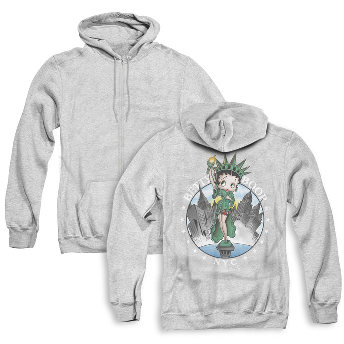Betty Boop Nyc Back Print Zipper Mens Hoodie Athletic Heather
