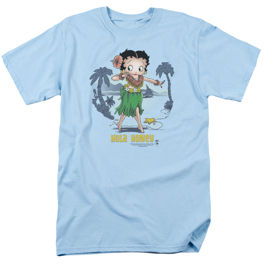 Betty Boop Hula Honey Mens T Shirt Carolina Blue