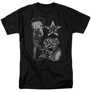 Betty Boop With The Band Mens T Shirt Black