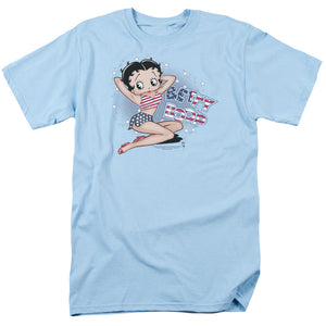 Betty Boop All American Girl Mens T Shirt Light Blue