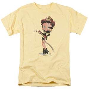 Betty Boop Firefighter Mens T Shirt Yellow