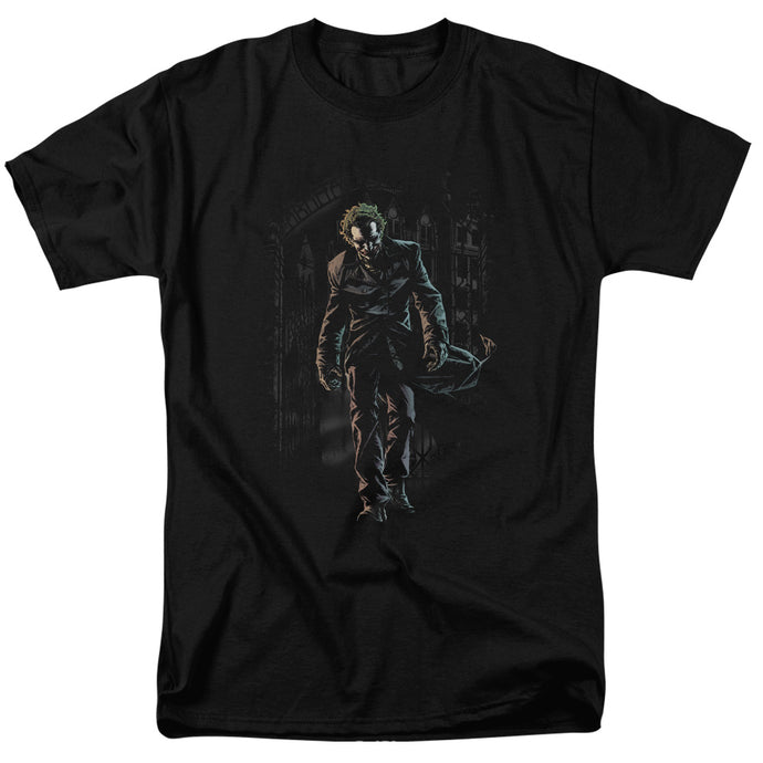 Batman Joker Leaves Arkham Mens T Shirt Black