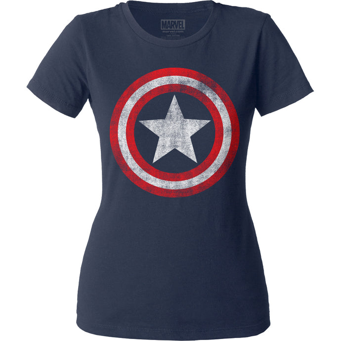 Captain America Distressed Shield Womens T Shirt Navy Blue