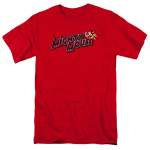 Mighty Mouse Might Logo Mens T Shirt Red