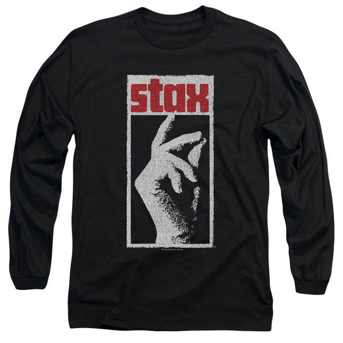 Stax Records Stax Distressed Mens Long Sleeve Shirt Black